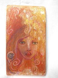 Mixed media, Energie, Pastellmalerei, Mädchen