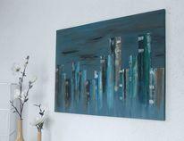 Spachteltechnik, Blau, Acrylmalerei, Malerei