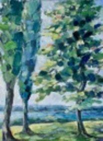 Baum, Landschaft, See, Ölmalerei
