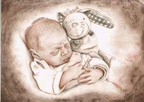 Plüschtier, Kohlezeichnung, Schlaf, Baby