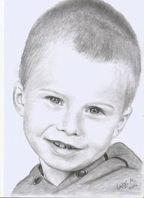 Junge, Bruder, Bleistiftzeichnung, Blond