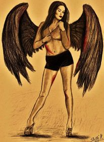 Blut, Flügel, Frau, Reiz