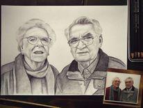Alt, Bleistiftzeichnung, Oma, Rentner