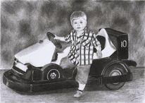 Auto, Bleistiftzeichnung, Kind, Junge