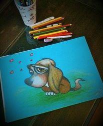 Blau, Hund, Herzen, Buntstiftzeichnung