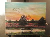 Sonnenuntergang, Bank, Baum, Vogel