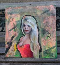 Weinen, Frau, Stress, Acrylmalerei