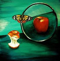 Grün, Rot, Apfel, Spiegel