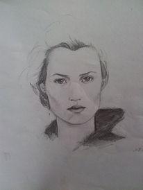 Frau portrait, Bleistiftzeichnung, Zeichnungen, Zeichnung