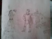 Bleistiftzeichnung, Ritter, Zeichnungen, Zeichnung