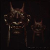 Maske, Teufel, 3d, Bronze
