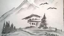 Bleistiftzeichnung, Landschaft, Zeichnung, Zeichnungen