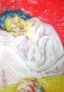 Frau, Textur, Vongelde, Acrylmalerei