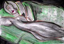 Emanzipation, Aquarellmalerei, Malerei, Grün