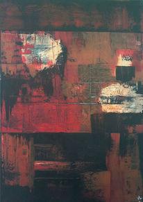 Braun, Acrylmalerei, Seele, Rot schwarz