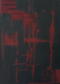 Seele, Acrylmalerei, Rot schwarz, Malerei
