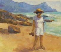 Urlaub, Sommer, Strand, Frau