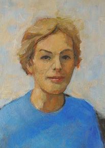 Blau, Figur, Frau porträt, Komposition