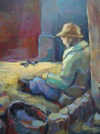 Malerei, Portrait, Acrylmalerei, Leinen