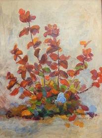 Schmetterling, Pflanzen, Frühling, Malerei