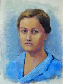Frau, Jugend, Gesicht, Blau