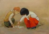 Kinder, Freude, Cezanne, Malerei