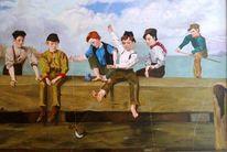 Junge, Ölmalerei, Meer, Fische