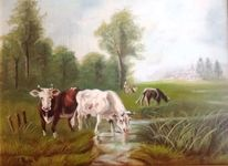 Landschaft, Stillleben, Kuhweide, Kuh