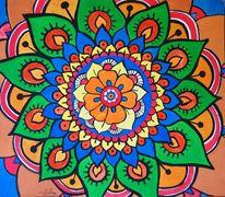 Acrylmalerei, Mandala, Figural, Malerei