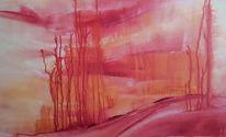 Malerei, Rot, Vanille, Gelb