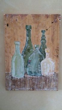 Weiß, Acrylmalerei, Marmormehl, Abstrakt