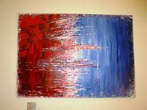 Malerei, Blau, Abstrakt, Weiß