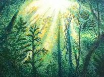 Malerei, Landschaft, Impressionismus, Acrylmalerei