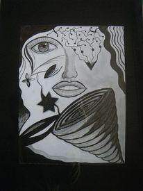 Abstrakt, Gesicht, Zeichnung, Kontrast