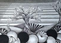 Baum, Schwarz, Muster, Weiß