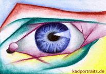 Augen, Bunt, Mischtechnik, Blick