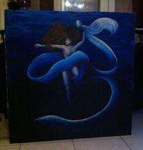 Tuch, Frau, Acrylmalerei, Wasser