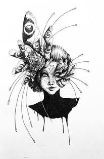 Kopf, Schmetterling, Zeichnungen,