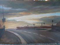 Wolken, Straße, Schilder, Abend