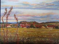 Feld, Dorf, Haus, Herbst