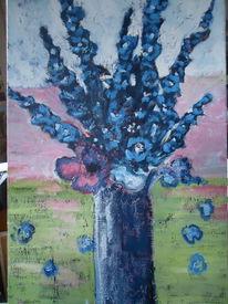 Vase, Blau, Blumen, Stillleben