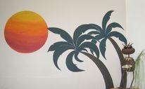 Sonne, Palmen, Malerei, Wandmalerei