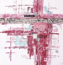 Perlen, Acrylmalerei, Collage, Handarbeit