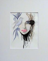 Vogel, Zeichnung, Aquarellfarben, Handarbeit