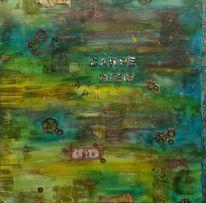 Karton, Gold, Geschenk, Acrylmalerei