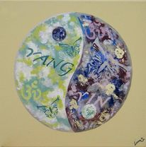 Abstrakt, Ying yang, Gemälde, Acrylmalerei