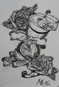 Tattoovorlagen, Sanduhr, Rose, Fahne