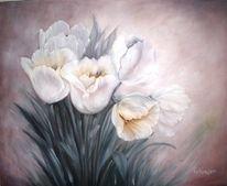 Tulpen, Weiß, Blumen, Malerei