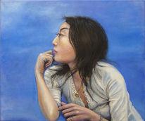 Portrait, Fotorealismus, Blau, Schwarzhaarig