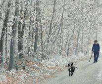 Hund, Spielen, Weg, Winter